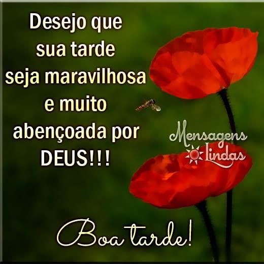 Desejo que sua tarde seja maravilhosa e muito abençoada por Deus!!!