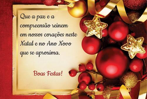 Que a paz e a compreensão reinem em nossos corações neste Natal e no Amo Novo que se aproxima!