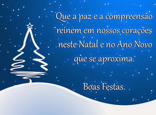 Que a paz e a compreensão reinem em nossos corações neste Natal e no Ano Novo. Boas Festas!