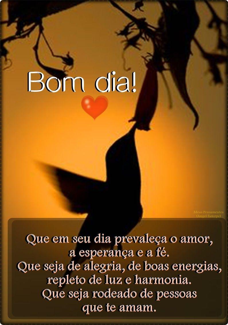 Bom dia! Que em seu dia prevaleça  amor, a esperança e a fé. Que seja de alegria, de boas energias, repleto de luz e harmonia.