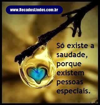 Só existe a saudade, porque existem pessoas especiais.