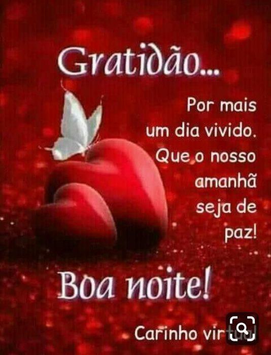 Gratidão… Por mais um dia vivido. Que o nosso amanhã seja de paz! Boa Noite!