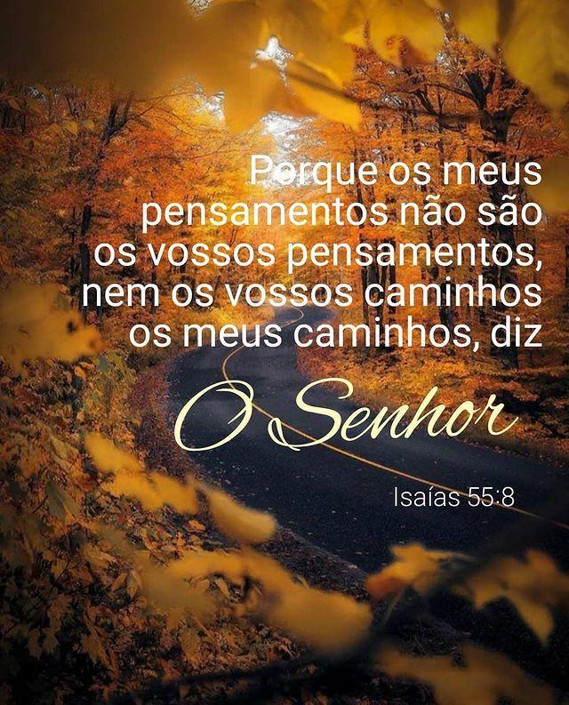 Porque os meus pensamentos não são os vossos pensamentos, nem os vossos caminhos os meus caminhos, diz O Senhor