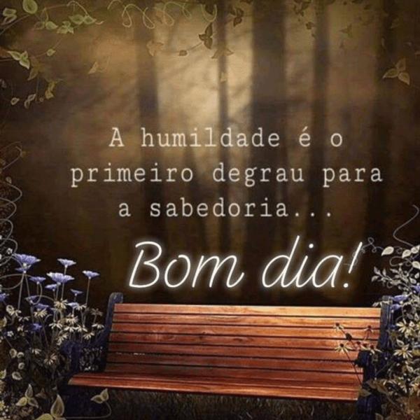 A humildade é o primeiro degrau para a sabedoria… Bom Dia!